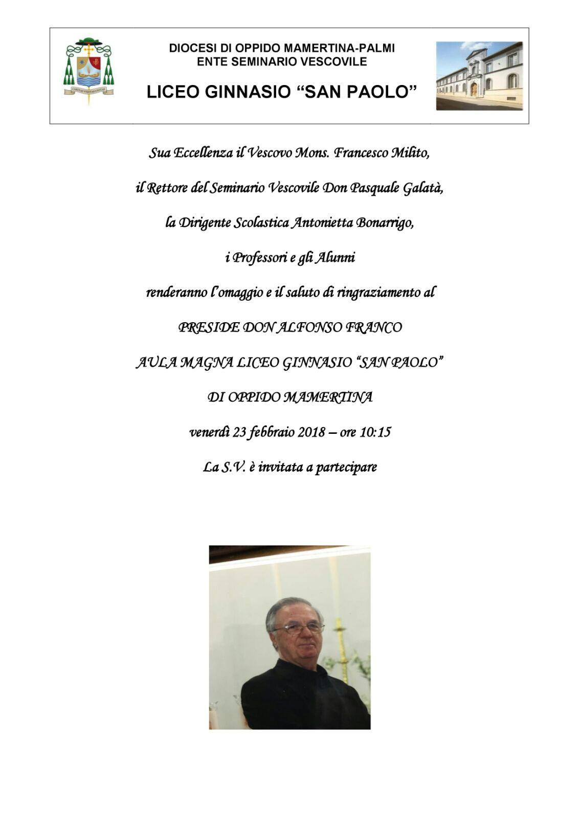 Saluto al Preside Don Alfonso Franco